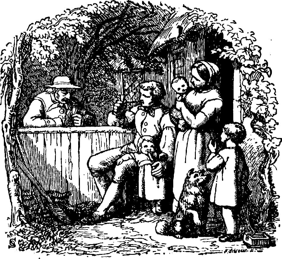 early habits customs and dress in loudoun county history of 18th Century Food bw drawing men drinking woman children looking on