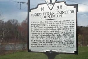 Meeting John Smith and the indian, Amoroleck. Road marker in Fredericksburg, Virginia