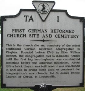 First German Reformed Church Site and Cemetery Marker in Lovettsville VA