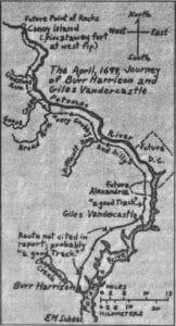April 1699 journey of Burr Harrison and Giles Vandercastel