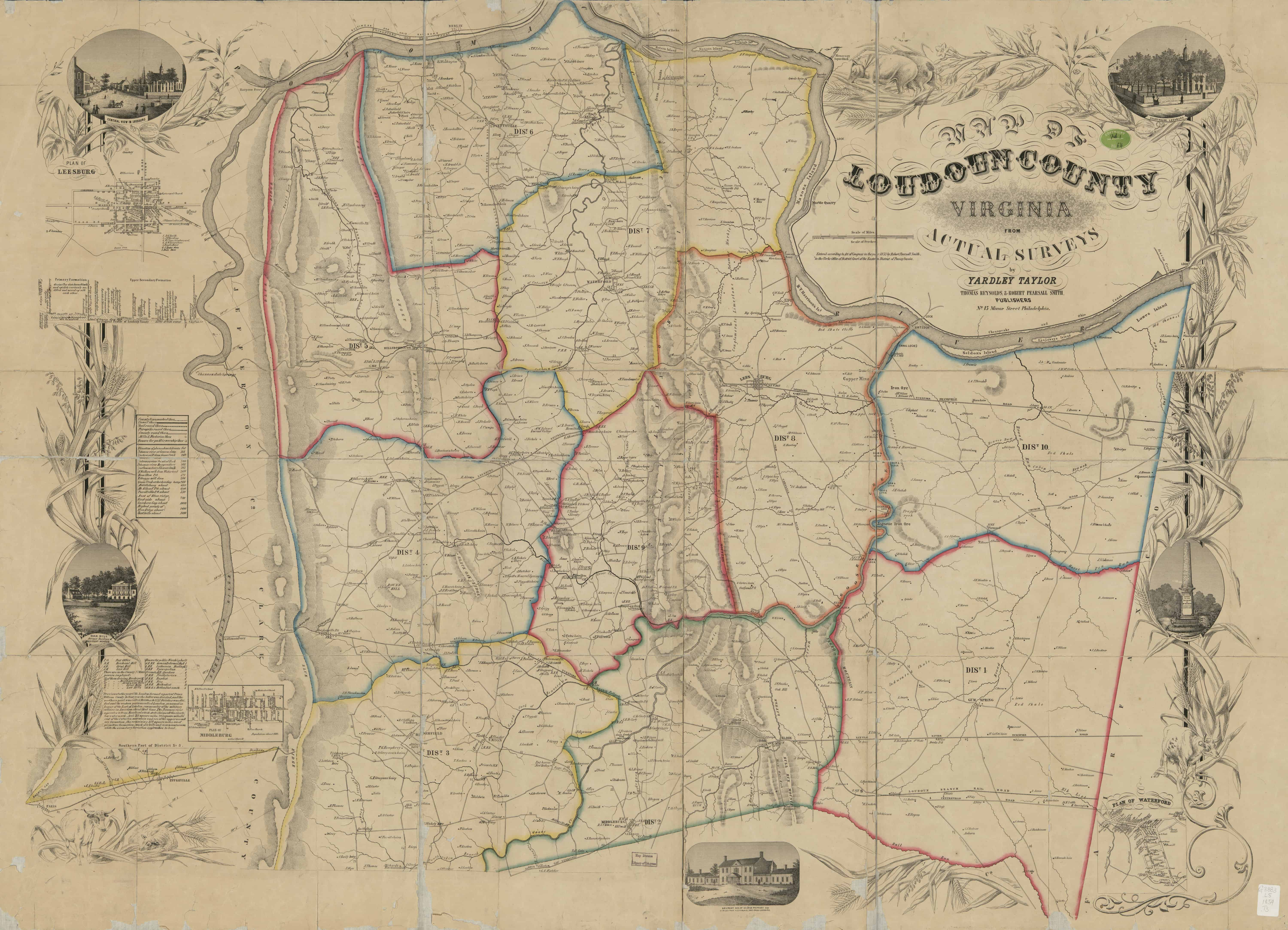 YardleyTaylor Map of Loudoun County Dated 1854 History of