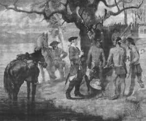 Meeting the Piscataway depicts the first settlers to explore the interior of Loudoun County in 1699. Painting by William Woodward.