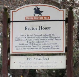 Rector House sign in Atoka VA
