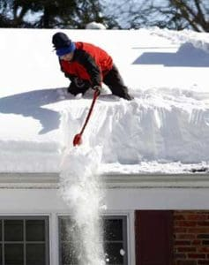Two feet of snow on the roof