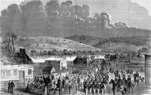 """General Gorman's brigade arriving at Edwards' Ferry for General Stone's """"slight demonstration,"""" 20 October 1861 (Library of Congress)"""