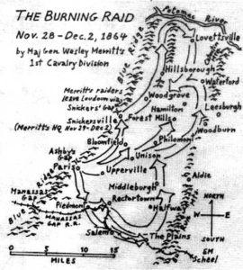 Map by Eugene Scheel showing Merritt's march through Loudoun County