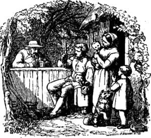 bw drawing men drinking woman children looking on