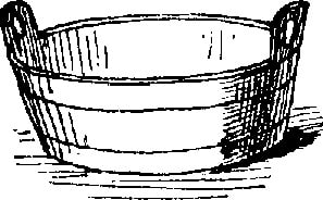 bw drawing wooden tub