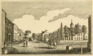 Central View of Leesburg, an engraving from Henry Howe's Historical Collections of Virginia (1845)