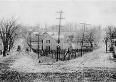 Early telephone lines at East Market and Fayette (now Edwards Ferry Road) streets in Leesburg. (Courtesy Of Thomas Balch Library)