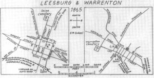 1865 maps of Leesburd and Warrenton, Virginia