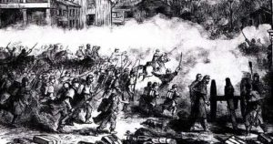 Middleburg was a hot-bed of civilian resistance when Union troops under Geary occupied Loudoun. An artist-correspondant recorded this scene in March 1862.