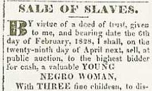 1830 advertisement for slave sale